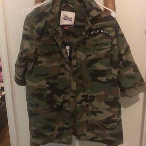 Army denim Tommy Hilfiger zip/ button jacket